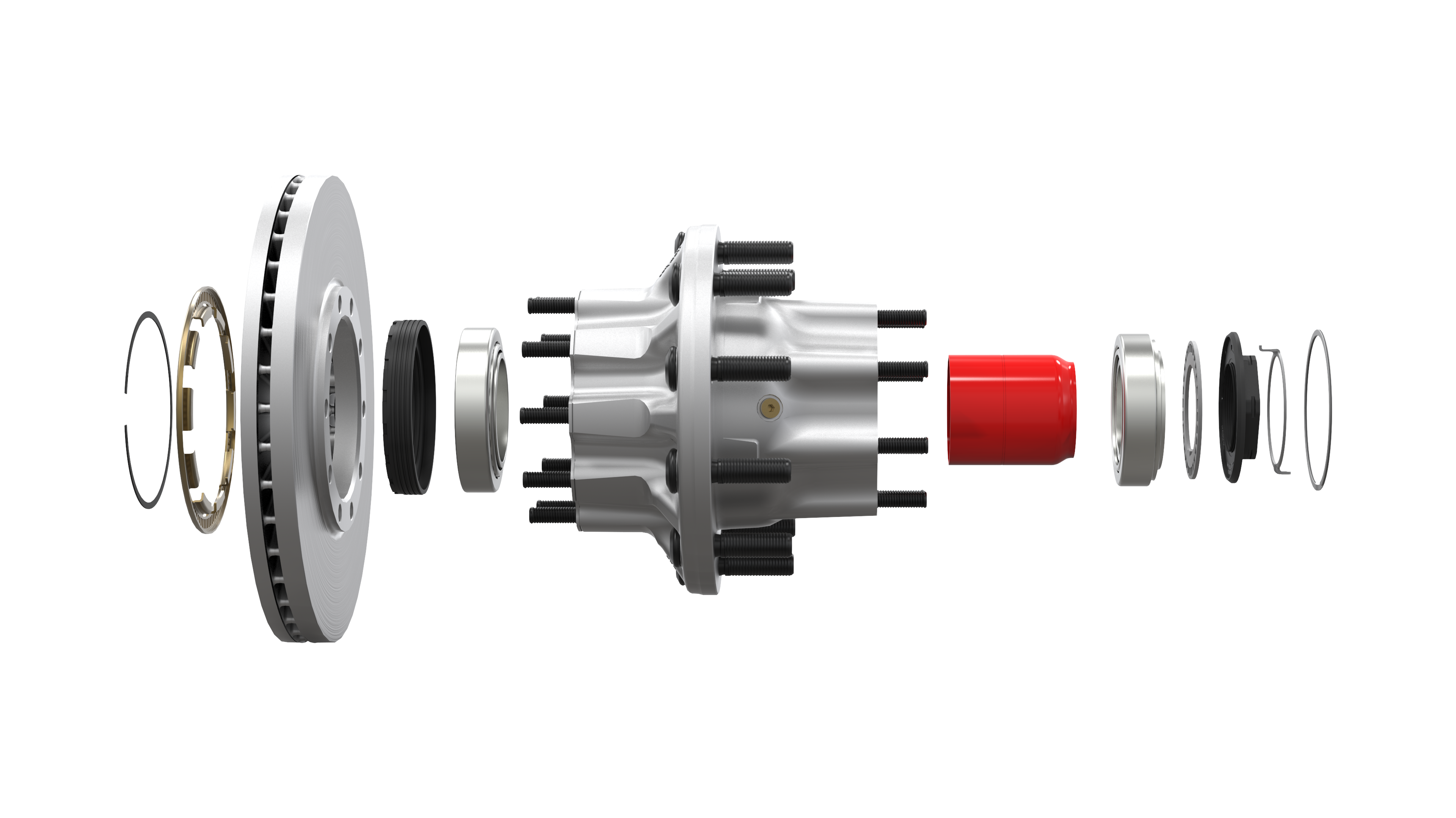Exploded view of PreSet® Hub Assembly with PreSet Plus® Spindle Nut
